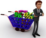 3d man shopping discount and cart concept Stock Photo