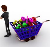 3d man shopping discount and cart concept Royalty Free Stock Images