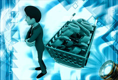 3d man shopping discount and cart illustration Stock Photo