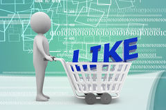 3d man with Shopping trolley with like text Illustration Royalty Free Stock Photos