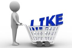 3d man with Shopping trolley with like text Royalty Free Stock Photos