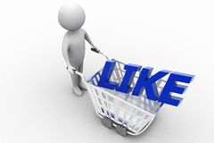 3d man with Shopping trolley with like text Royalty Free Stock Image