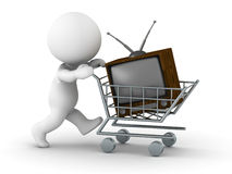 3D Man Shopping for TV Royalty Free Stock Photography