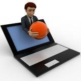 3d man show globe sphere through laptop screen concept Stock Photography