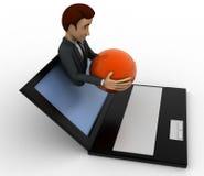3d man show globe sphere through laptop screen concept Stock Image