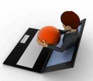 3d man show globe sphere through laptop screen concept Stock Photos