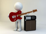 3D man show guitar Royalty Free Stock Image