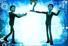 3d man show question mark illustration Stock Image