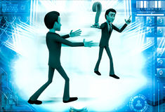 3d man show question mark illustration Stock Photography