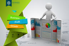 3d man showing  the business report. In color background Stock Photography