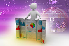 3d man showing  the business report. In color background Stock Photos