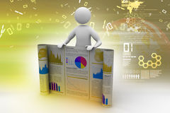 3d man showing  the business report. In color background Royalty Free Stock Photos