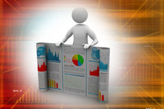 3d man showing  the business report. In white color background Royalty Free Stock Images