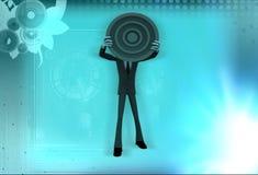 3d man showing circular target board illustration Stock Image
