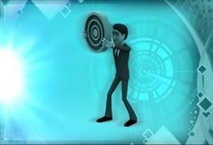 3d man showing circular target board illustration Royalty Free Stock Images