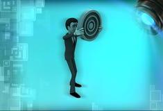 3d man showing circular target board illustration Royalty Free Stock Image