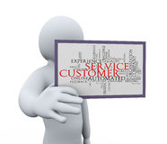 3d man showing customer service. 3d illustration of person showing customer service wordcloud word tags.  3d rendering of human people character Royalty Free Stock Image