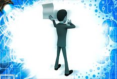 3d man showing empty paper in one hand and point with another hand illustration Stock Images