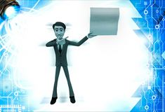 3d man showing empty paper in one hand and point with another hand illustration Royalty Free Stock Images