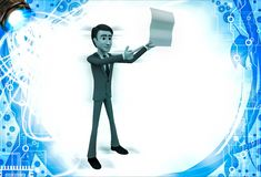3d man showing empty paper in one hand and point with another hand illustration Stock Photos