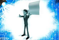 3d man showing empty paper in one hand and point with another hand illustration Stock Photo