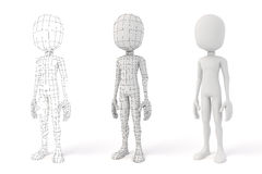 3d man with showing geometry edges Stock Image