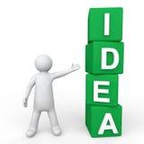 3d man showing green idea cubes. 3d render of a man showing green idea cubes Royalty Free Stock Photos