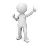 3D Man Showing Like Thumbs Up. Over white background Royalty Free Stock Photos
