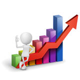 3d man showing okay hand sign with a bar chart. Graph Royalty Free Stock Images