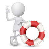 3d man showing okay hand sign with a buoy. Over white background stock illustration