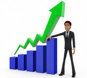 3d man showing progress chart concept Royalty Free Stock Image
