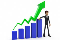 3d man showing progress chart concept Royalty Free Stock Photography