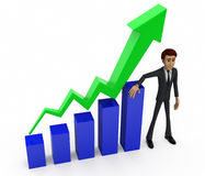 3d man showing progress chart concept Royalty Free Stock Photo