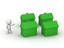 3D Man Showing 4 small green houses. A 3d guy showing four small green houses stock illustration