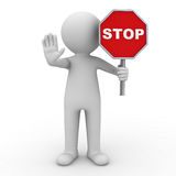 3d man showing stop gesture and holding stop sign over white background with shadow Royalty Free Stock Photo