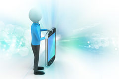 3d man showing the tablet computer. In color background Stock Photos