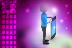 3d man showing the tablet computer Royalty Free Stock Photos