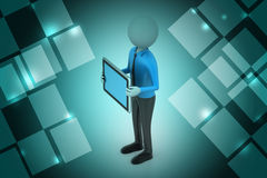 3d man showing the tablet computer Stock Photography