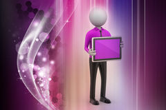 3d man showing the tablet computer Royalty Free Stock Photography