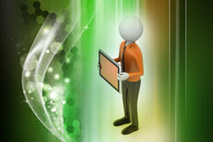 3d man showing the tablet computer. In color background Royalty Free Stock Photos