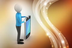 3d man showing the tablet computer. In color background Royalty Free Stock Images