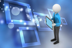 3d man showing the tablet computer Royalty Free Stock Image
