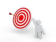 3D man showing target arrow. 3D render of a man showing target arrow Stock Photography