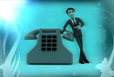 3d man showing telephone illustration Stock Photography