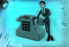 3d man showing telephone illustration Royalty Free Stock Images