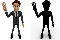 3d man showing three finguress to others concept collections with alpha and shadow channel Stock Image