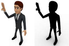 3d man showing three finguress to others concept collections with alpha and shadow channel Stock Photography