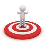 3d man showing thumb up and standing on red target over white Royalty Free Stock Photography