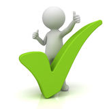 3d man showing thumbs up with green check mark over white. Background Stock Photos