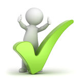 3d man showing thumbs up with green check mark Stock Photography